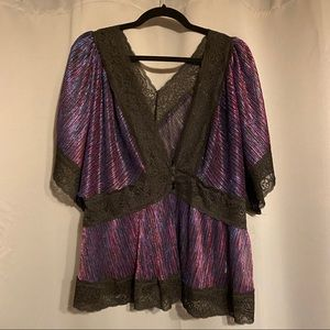 Forever 21 Sheer Metallic Top w/ Lace Trim